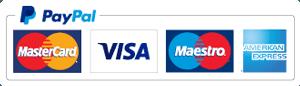 PayPal, MasterCard, VISA, Maestro and American Express card logos