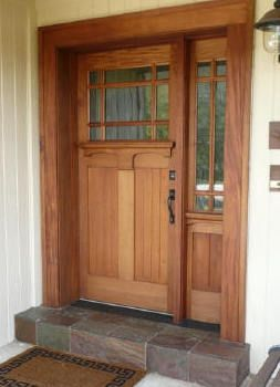Mahogany front door with sidelight