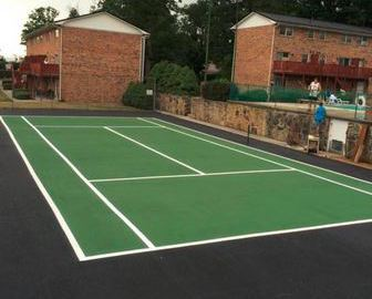 View of the tennis court on a well paved road in west Virginia