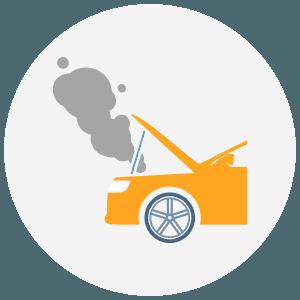 Icon of a broken down car