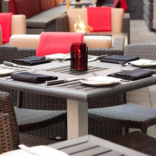 Outside patio dining options in White Rock and Port Moody locations