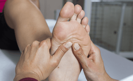A reflexology massage