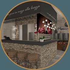 Inquadratura d'angolo dell'interno del locale con bancone in pietra e sgabelli