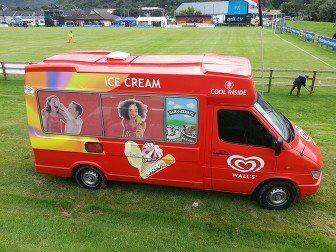 Red and yellow ice cream van