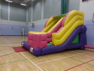 Side view of the multi-coloured slide