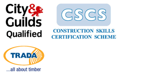 City & Guilds logo, CSCS logo & TRADA logo