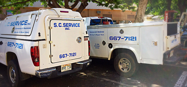 S C Service Inc fleet vehicles in Lahaina