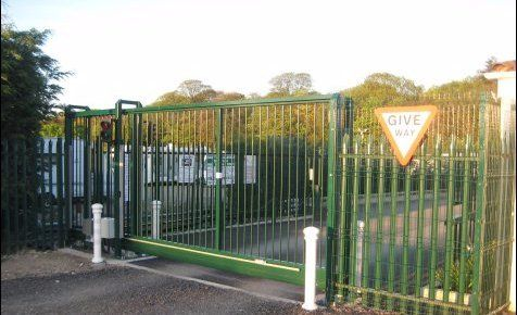 Secure strong iron gates at the entrance to the storage facility site