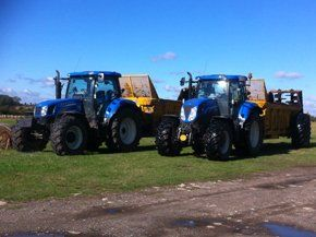 two of our blue tractors