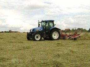 tractor gathering haylage