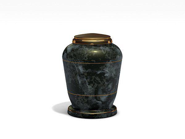 Un'urna in granito nero