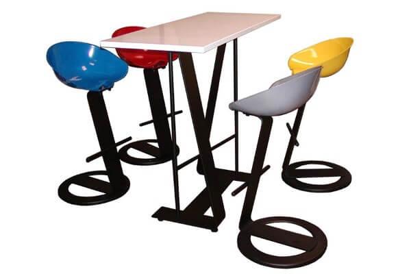 Colorful design stools and table in Reggio Emilia