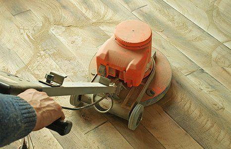 floor cleaning in progress