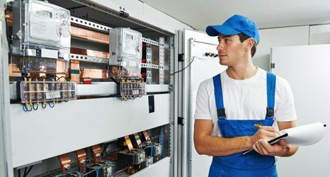 electrician inspecting