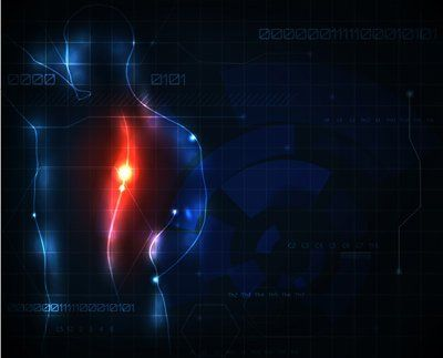 disegno stilizzato di colonna vertebrale con infiammazione attiva