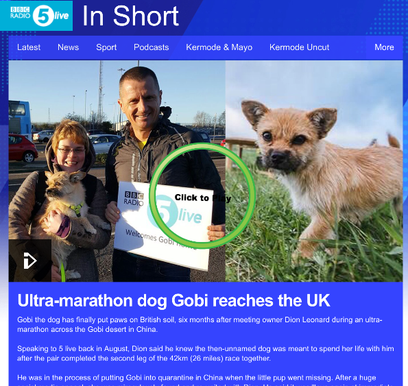 Dion Leonard, BBC 5 Live, Gobi the Dog, Phil Williams