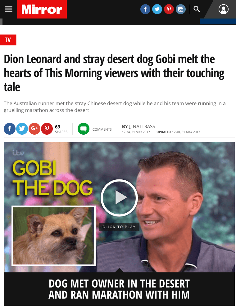 The Mirror, Dion Leonard, Gobi the Dog, Ultra Marathon, Gobi Desert, This Morning, ITV