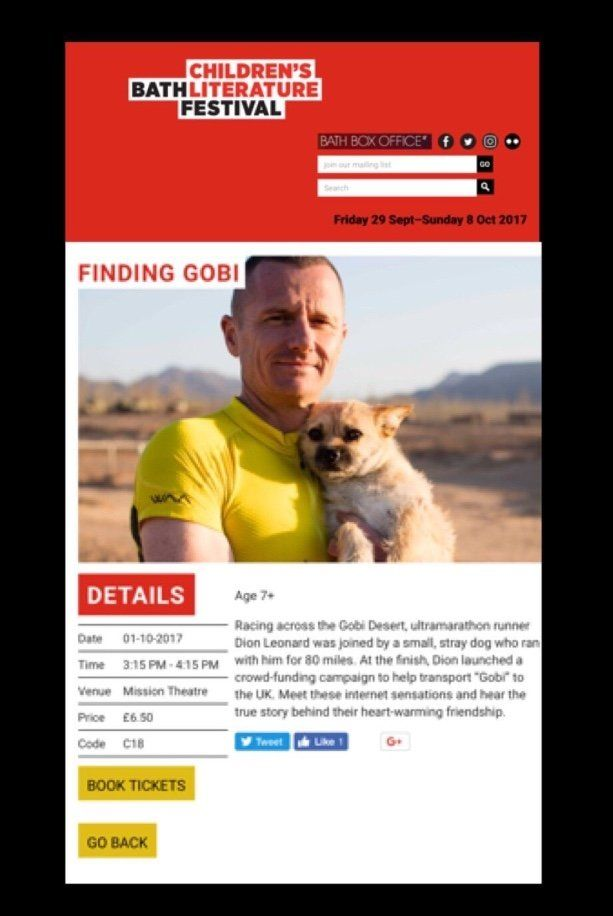 Dion Leonard, Finding Gobi, Bath Festival, Ultramarathon Runner, Gobi Desert Dog, China