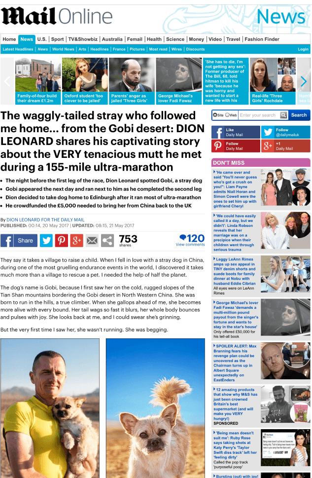 Daily Mail Dion Leonard Finding Gobi 155 mile ultra marathon Gobi Desert