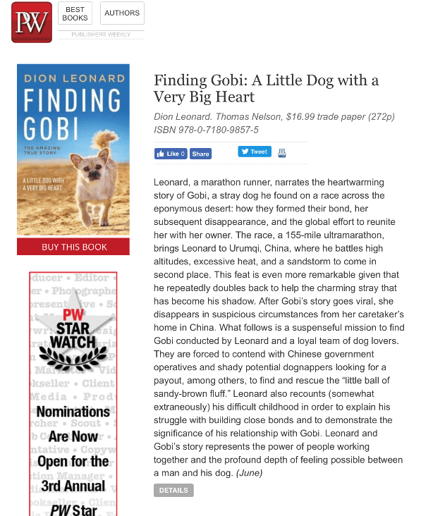 Finding Gobi, Dion Leonard, Publishers Weekly Book Review, Gobi the Dog, Marathon, Runner, Urumqi, China, Gobi Desert, 155 Mile Race