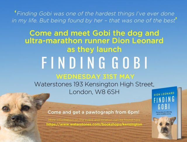 Finding Gobi book signing event. Meet Dion Leonard and Gobi the Dog in London