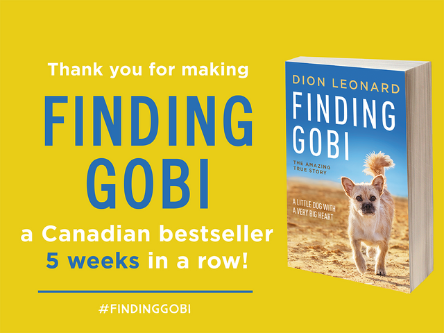 Dion Leonard, Finding Gobi, Gobi the Dog, Harper Collins. Finding Gobi Book, Canada, Amazon, Bestsellers List