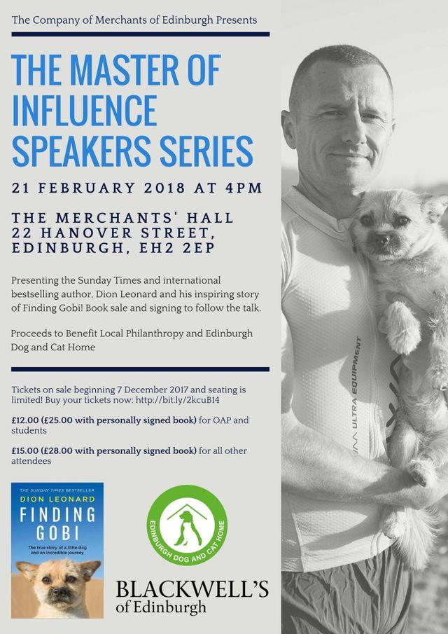 Masters of Influence, Speaker, Dion Leonard, Finding Gobi, Edinburgh