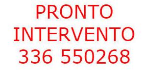 Scritta in rosso PRONTO INTERVENTO e numero di telefono