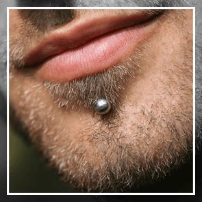under-lip piercing