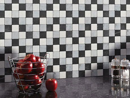 kitchen wall with checkered tiles