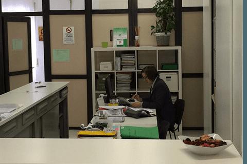 una donna al lavoro alla scrivania