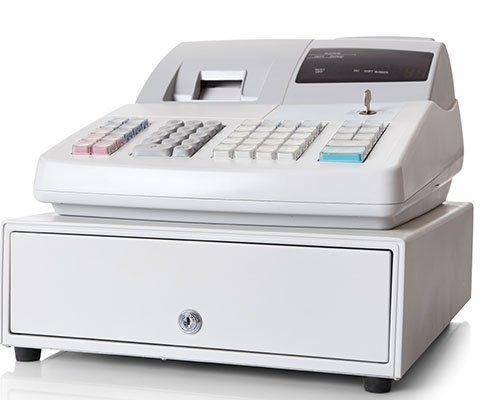 primo piano di un registratore di cassa