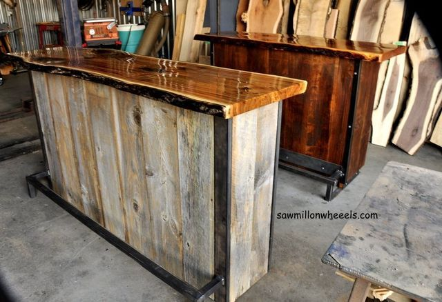 Home bar made with reclaimed live edge wood and barn boards.