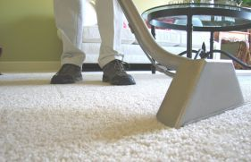 someone cleaning a carpet