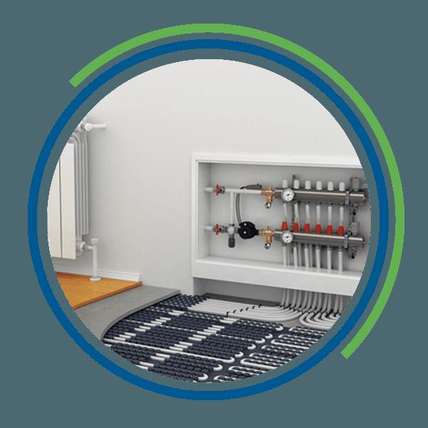 Vista di un impianto di riscaldamento a pavimento
