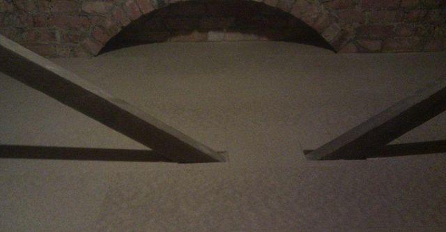 Interior of a loft with brick arch