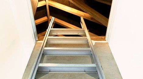 A ladder leading into a loft