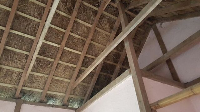 Wooden beams and thatching from the underside
