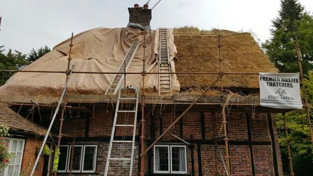 A roof being thatched