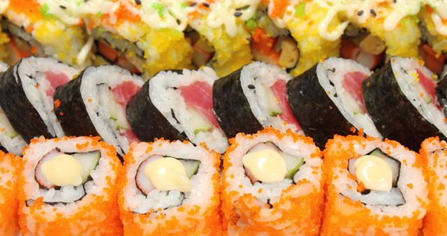 Assorted rolled sushi