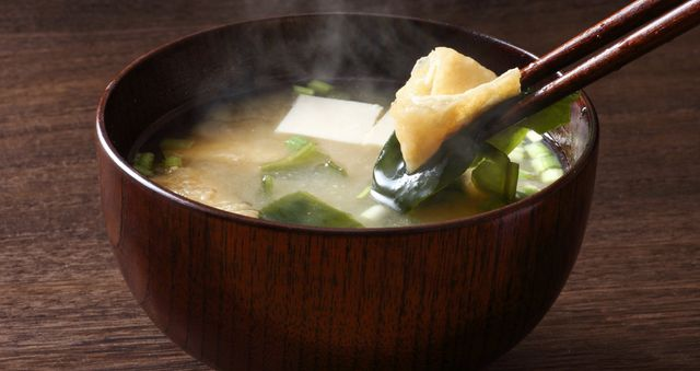 A bowl of warm miso soup