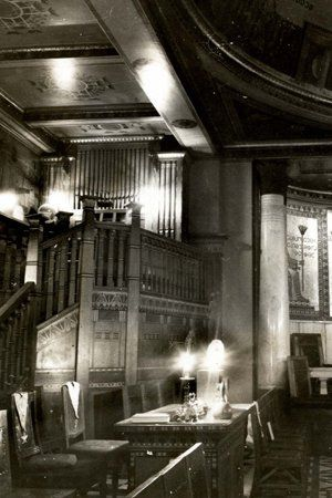 A rare photograph of the temple at the Floral Frascati restaurant on Oxford Street in London