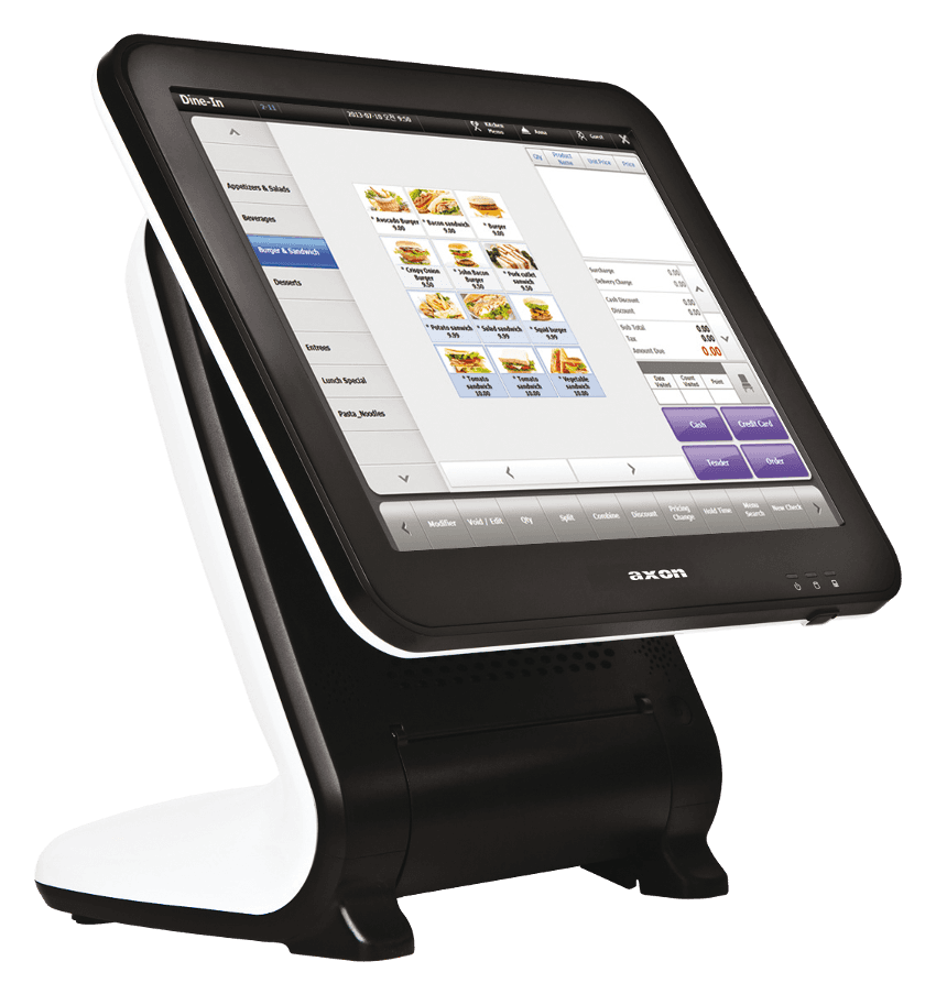 cassa touch screen con la visualizzazione di alcuni prodotti alimentari
