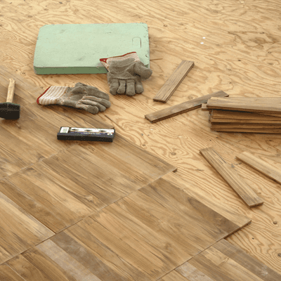 Tools and gloves used for hardwood floor installation in Cold Spring, KY