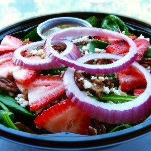 Strawberry spinach salad @ training umbrella
